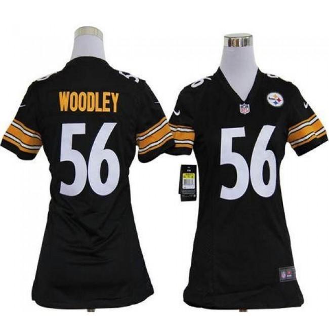 Women's Steelers #56 LaMarr Woodley Black Team Color Stitched NFL Elite Jersey