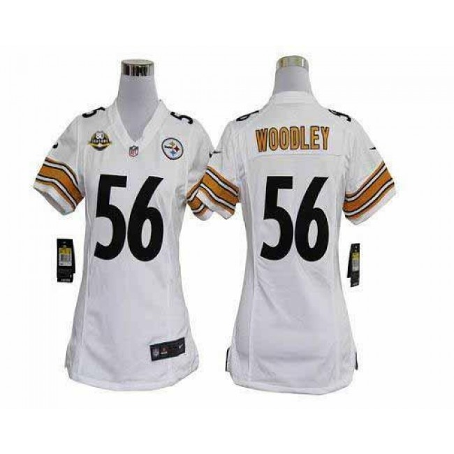 Women's Steelers #56 LaMarr Woodley White With 80TH Patch Stitched NFL Elite Jersey