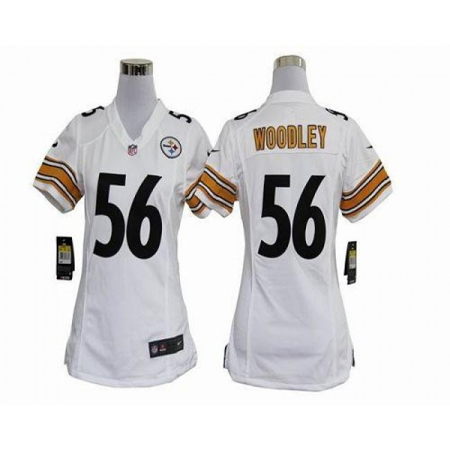 Women's Steelers #56 LaMarr Woodley White Stitched NFL Elite Jersey