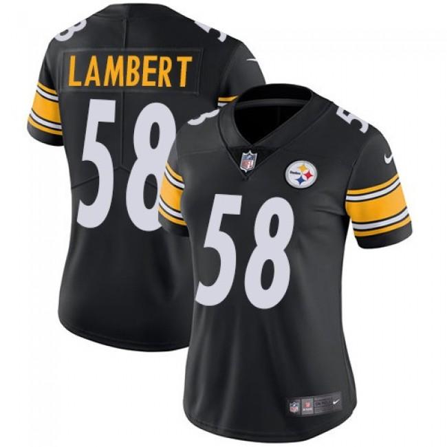 Women's Steelers #58 Jack Lambert Black Team Color Stitched NFL Vapor Untouchable Limited Jersey