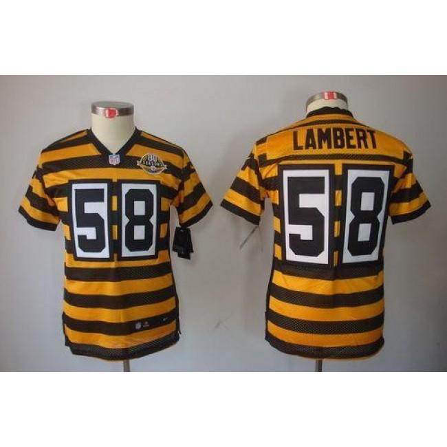 Pittsburgh Steelers #58 Jack Lambert Black-Yellow Alternate Youth Stitched NFL Limited Jersey