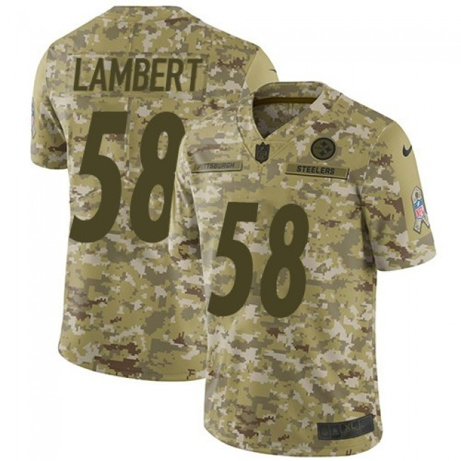 Nike Steelers #58 Jack Lambert Camo Men's Stitched NFL Limited 2018 Salute To Service Jersey