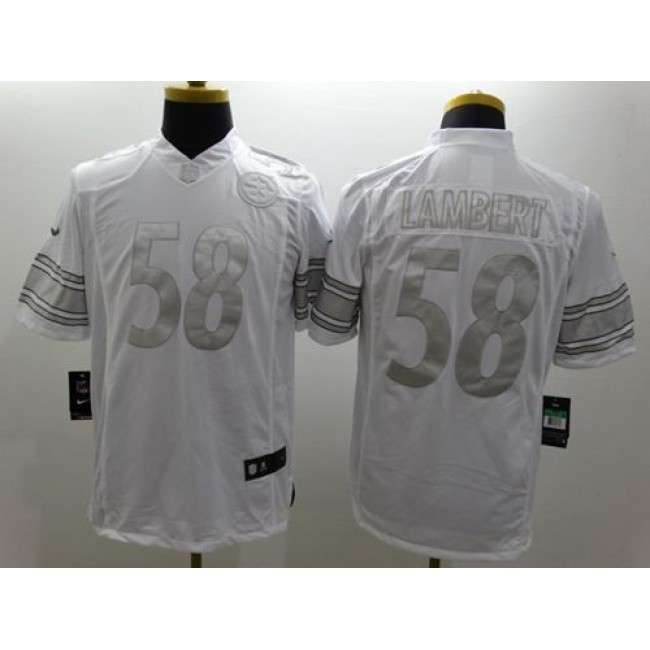 Nike Steelers #58 Jack Lambert White Men's Stitched NFL Limited Platinum Jersey