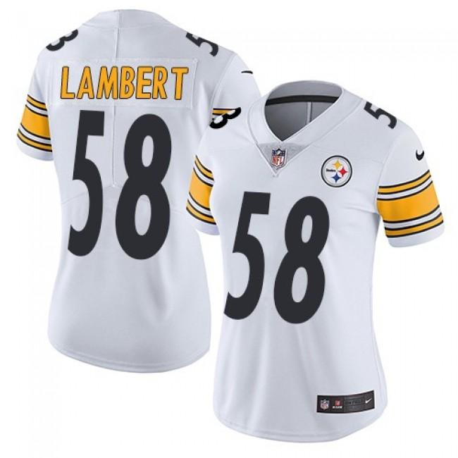 Women's Steelers #58 Jack Lambert White Stitched NFL Vapor Untouchable Limited Jersey