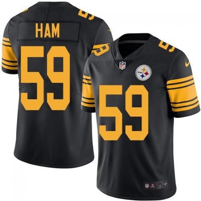 Nike Steelers #59 Jack Ham Black Men's Stitched NFL Limited Rush Jersey