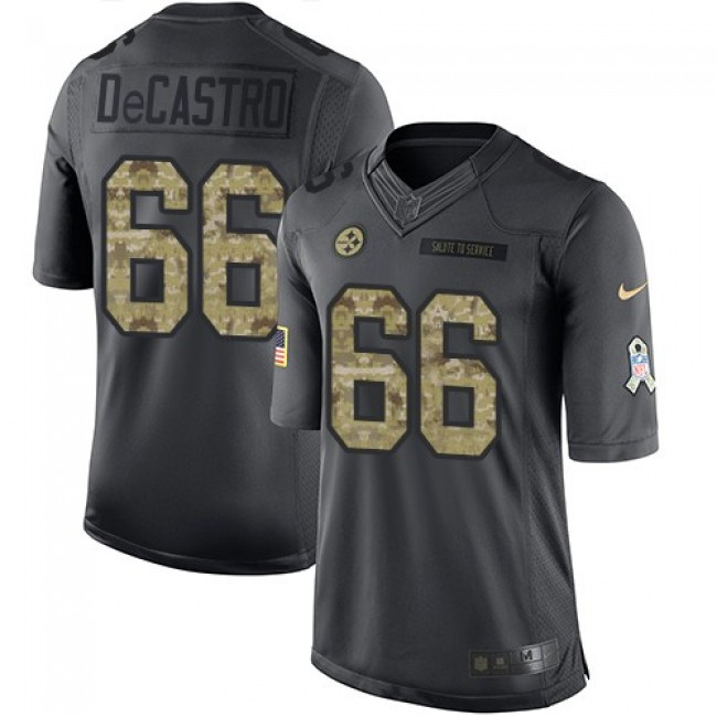 Nike Steelers #66 David DeCastro Black Men's Stitched NFL Limited 2016 Salute to Service Jersey