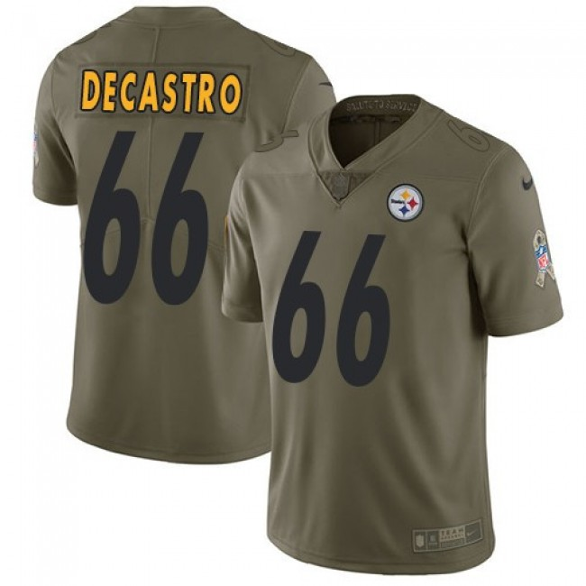 Pittsburgh Steelers #66 David DeCastro Olive Youth Stitched NFL Limited 2017 Salute to Service Jersey