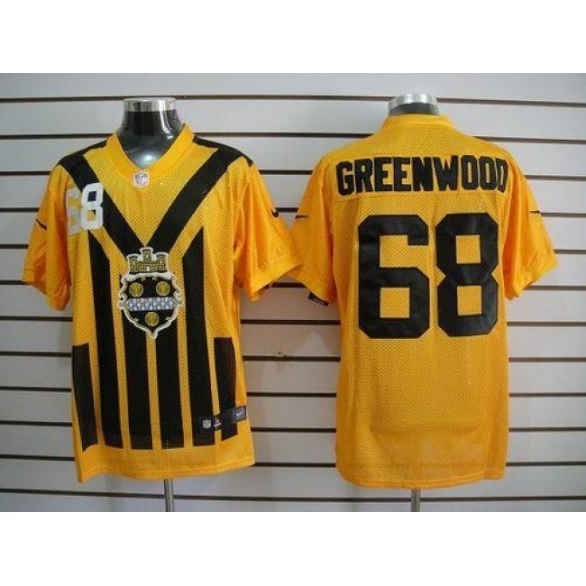 Nike Steelers #68 L.C. Greenwood Gold 1933s Throwback Men's Embroidered NFL Elite Jersey
