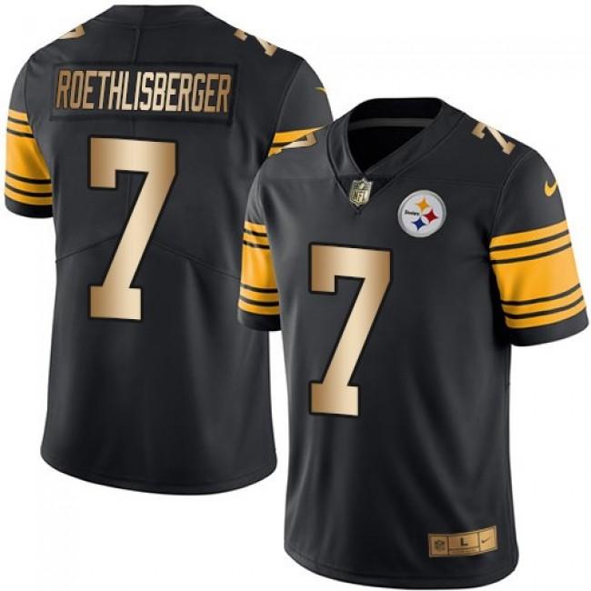 Nike Steelers #7 Ben Roethlisberger Black Men's Stitched NFL Limited Gold Rush Jersey