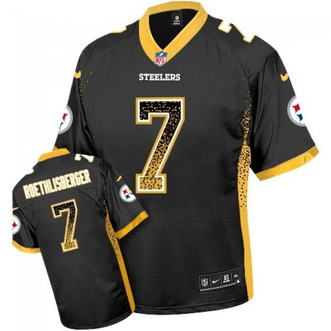 Nike Steelers #7 Ben Roethlisberger Black Team Color Men's Stitched NFL Elite Drift Fashion Jersey
