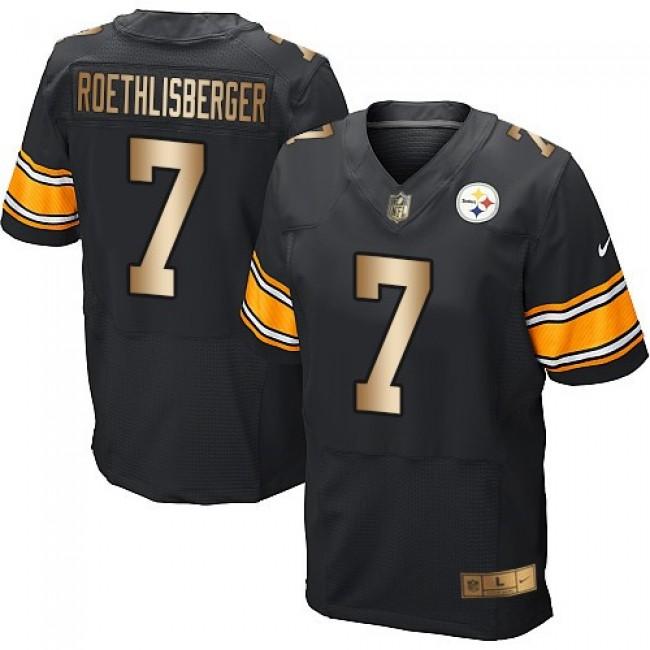 Nike Steelers #7 Ben Roethlisberger Black Team Color Men's Stitched NFL Elite Gold Jersey