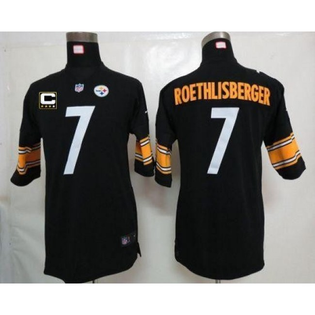 Pittsburgh Steelers #7 Ben Roethlisberger Black Team Color With C Patch Youth Stitched NFL Elite Jersey