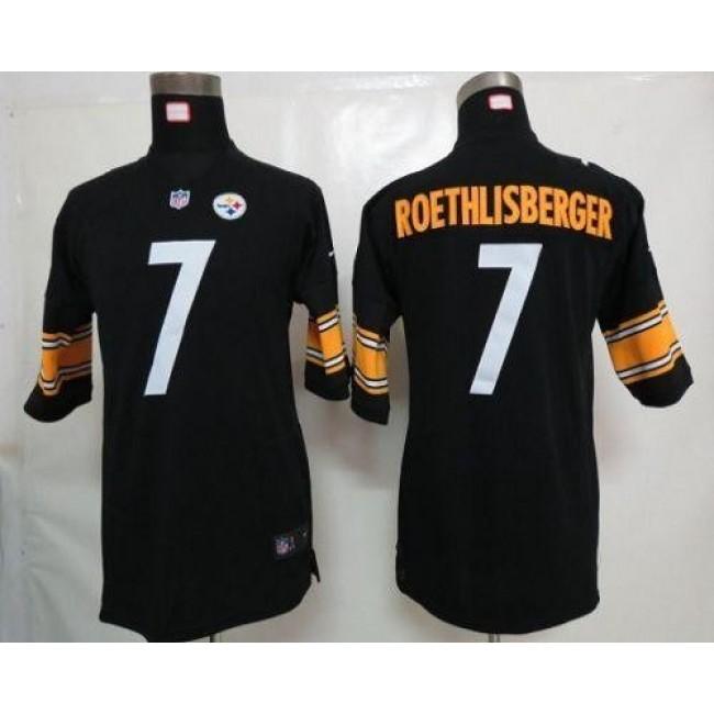 Pittsburgh Steelers #7 Ben Roethlisberger Black Team Color Youth Stitched NFL Elite Jersey