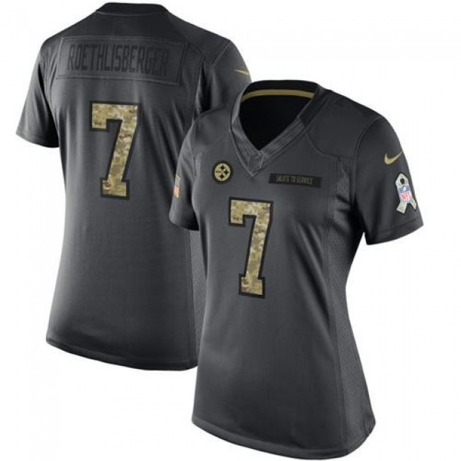Women's Steelers #7 Ben Roethlisberger Black Stitched NFL Limited 2016 Salute to Service Jersey