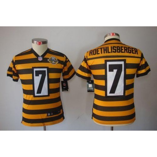 Pittsburgh Steelers #7 Ben Roethlisberger Black-Yellow Alternate Youth Stitched NFL Limited Jersey