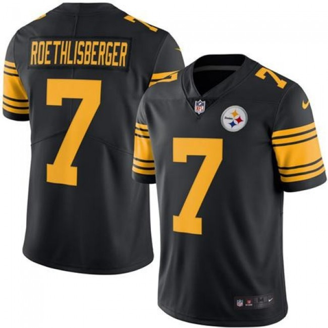 Pittsburgh Steelers #7 Ben Roethlisberger Black Youth Stitched NFL Limited Rush Jersey