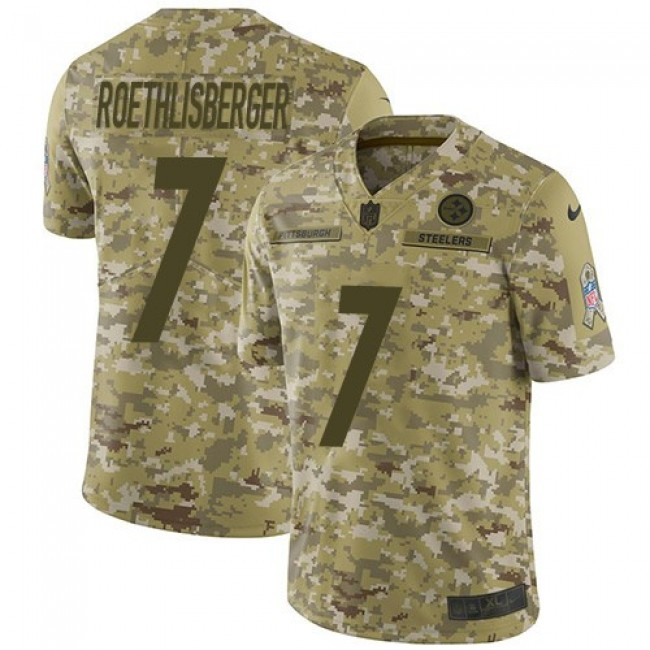 Nike Steelers #7 Ben Roethlisberger Camo Men's Stitched NFL Limited 2018 Salute To Service Jersey