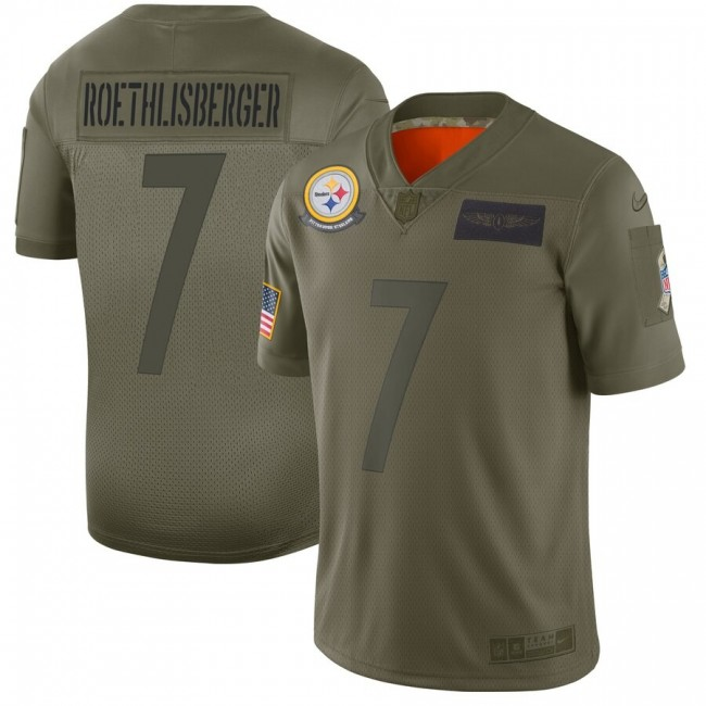 Nike Steelers #7 Ben Roethlisberger Camo Men's Stitched NFL Limited 2019 Salute To Service Jersey