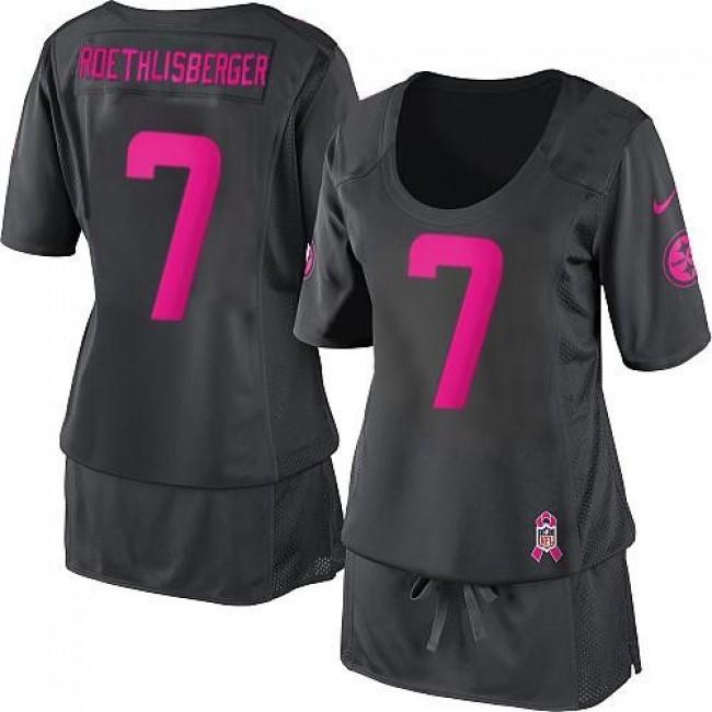 Women's Steelers #7 Ben Roethlisberger Dark Grey Breast Cancer Awareness Stitched NFL Elite Jersey