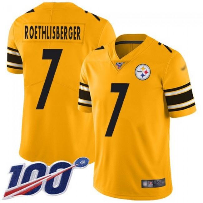 Nike Steelers #7 Ben Roethlisberger Gold Men's Stitched NFL Limited Inverted Legend 100th Season Jersey