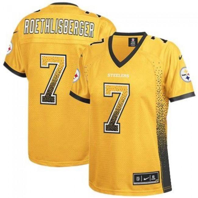 Women's Steelers #7 Ben Roethlisberger Gold Stitched NFL Elite Drift Jersey