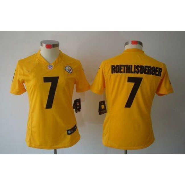 Women's Steelers #7 Ben Roethlisberger Gold Stitched NFL Limited Jersey