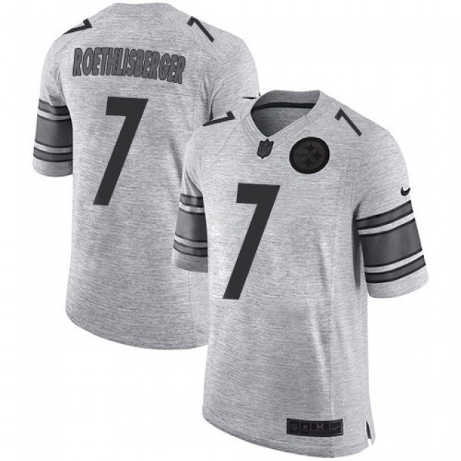 Nike Steelers #7 Ben Roethlisberger Gray Men's Stitched NFL Limited Gridiron Gray II Jersey