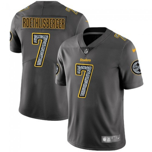 Nike Steelers #7 Ben Roethlisberger Gray Static Men's Stitched NFL Vapor Untouchable Limited Jersey