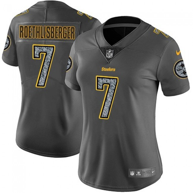 Women's Steelers #7 Ben Roethlisberger Gray Static Stitched NFL Vapor Untouchable Limited Jersey