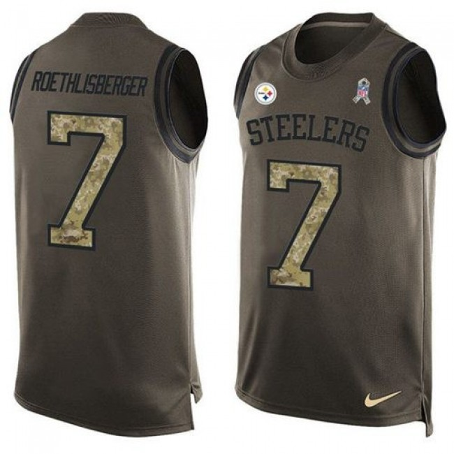 Nike Steelers #7 Ben Roethlisberger Green Men's Stitched NFL Limited Salute To Service Tank Top Jersey