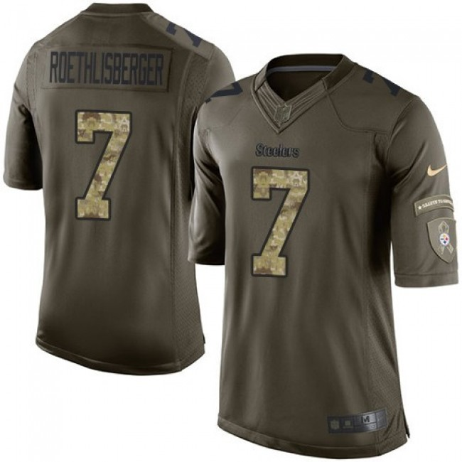 Pittsburgh Steelers #7 Ben Roethlisberger Green Youth Stitched NFL Limited 2015 Salute to Service Jersey