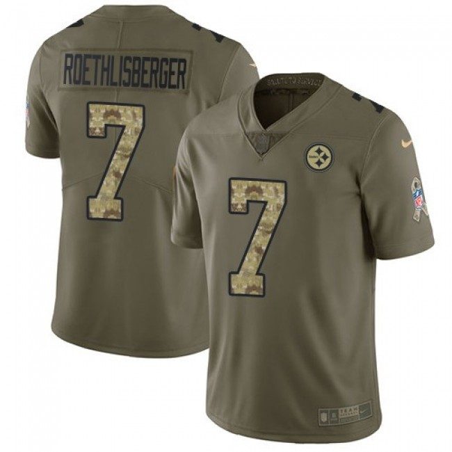 Pittsburgh Steelers #7 Ben Roethlisberger Olive-Camo Youth Stitched NFL Limited 2017 Salute to Service Jersey