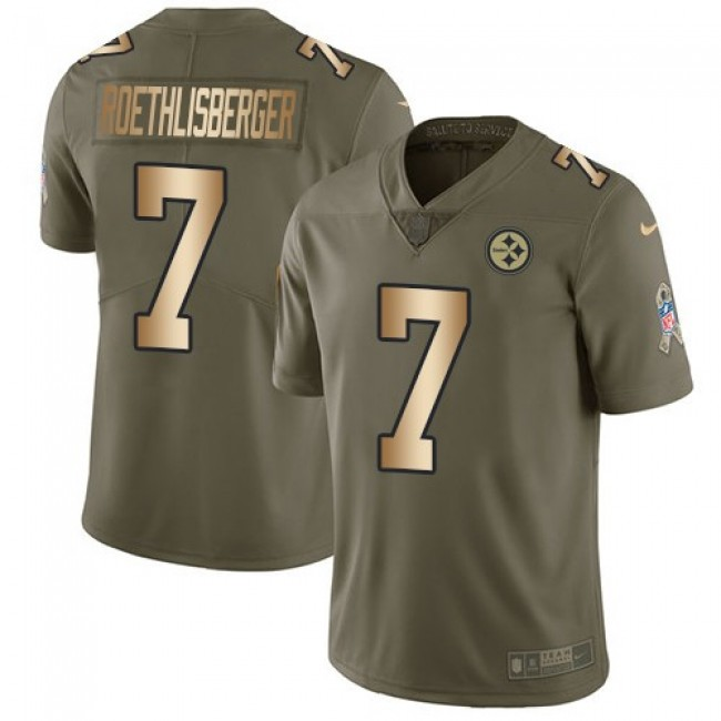Nike Steelers #7 Ben Roethlisberger Olive/Gold Men's Stitched NFL Limited 2017 Salute To Service Jersey