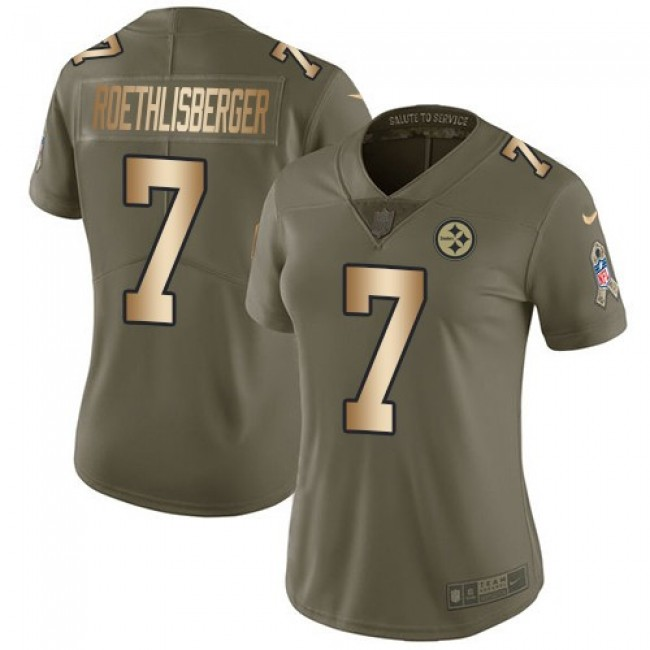 Women's Steelers #7 Ben Roethlisberger Olive Gold Stitched NFL Limited 2017 Salute to Service Jersey