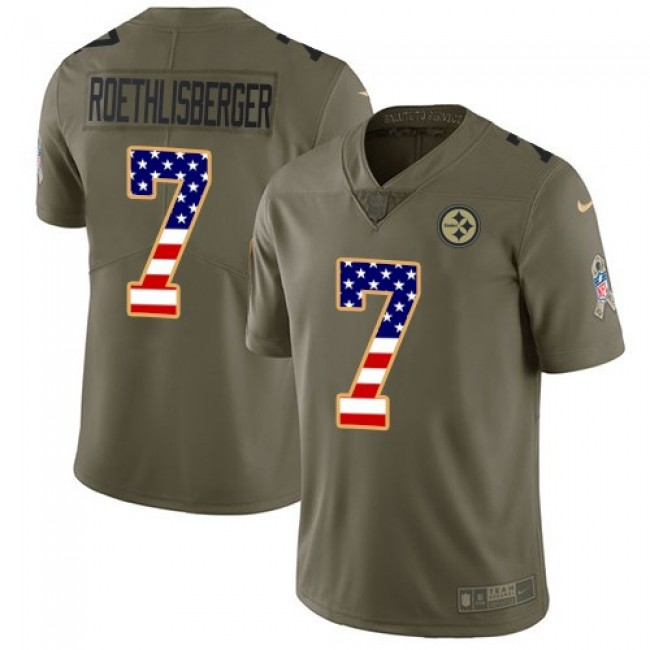 Nike Steelers #7 Ben Roethlisberger Olive/USA Flag Men's Stitched NFL Limited 2017 Salute To Service Jersey