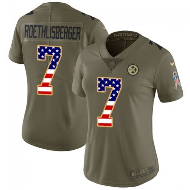 Women's Steelers #7 Ben Roethlisberger Olive USA Flag Stitched NFL Limited 2017 Salute to Service Jersey