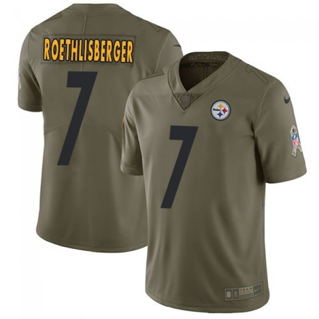 Pittsburgh Steelers #7 Ben Roethlisberger Olive Youth Stitched NFL Limited 2017 Salute to Service Jersey