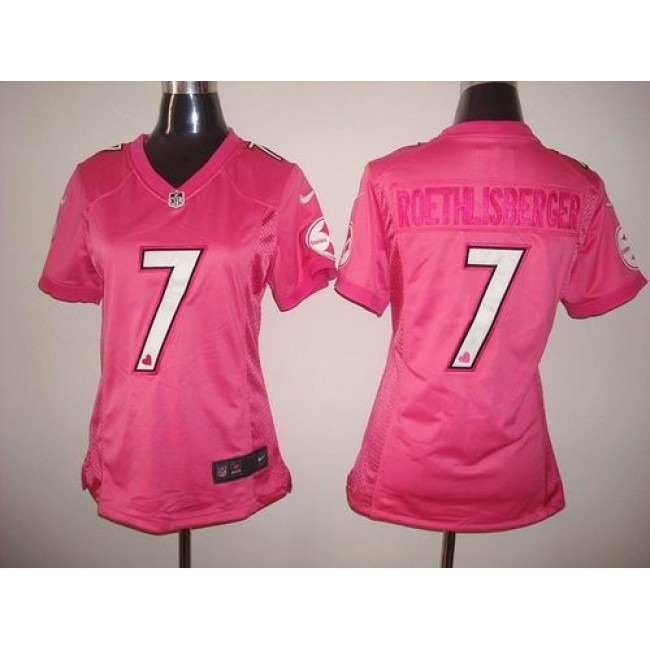 Women's Steelers #7 Ben Roethlisberger Pink New Be Luv'd Stitched NFL Elite Jersey
