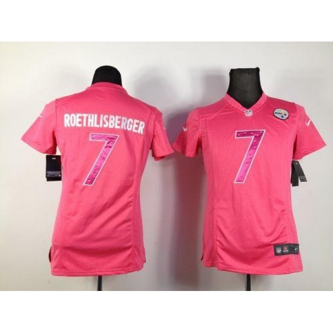 Women's Steelers #7 Ben Roethlisberger Pink Sweetheart Stitched NFL Elite Jersey