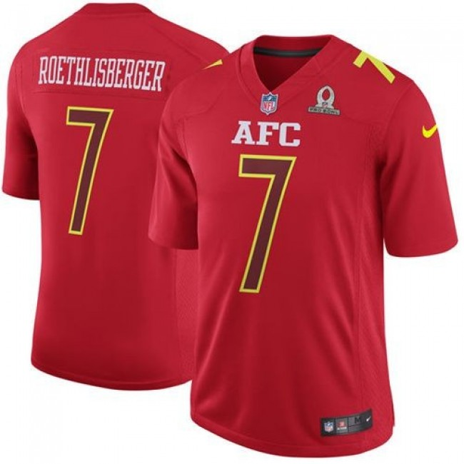 Nike Steelers #7 Ben Roethlisberger Red Men's Stitched NFL Game AFC 2017 Pro Bowl Jersey