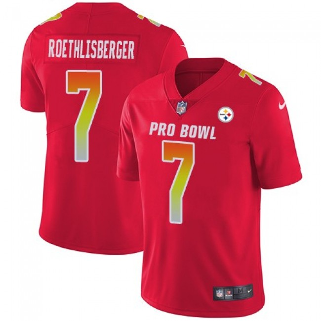 Women's Steelers #7 Ben Roethlisberger Red Stitched NFL Limited AFC 2018 Pro Bowl Jersey