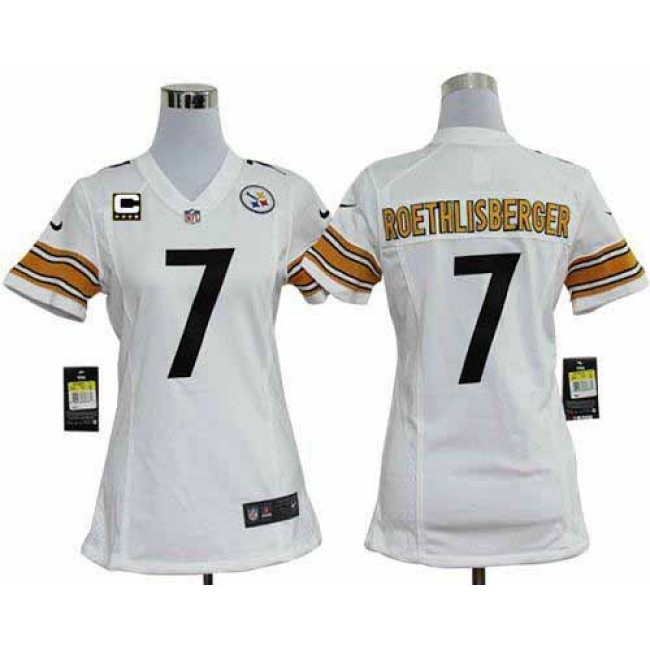 Women's Steelers #7 Ben Roethlisberger White With C Patch Stitched NFL Elite Jersey