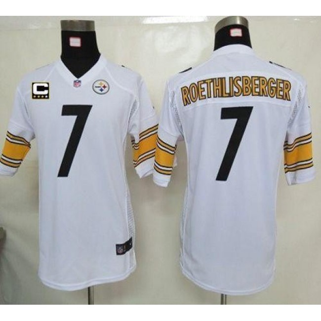 Pittsburgh Steelers #7 Ben Roethlisberger White With C Patch Youth Stitched NFL Elite Jersey