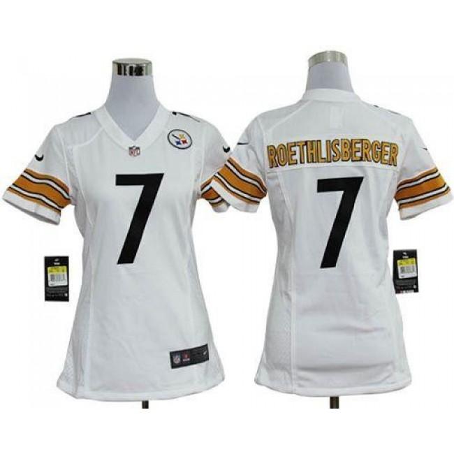 Women's Steelers #7 Ben Roethlisberger White Stitched NFL Elite Jersey