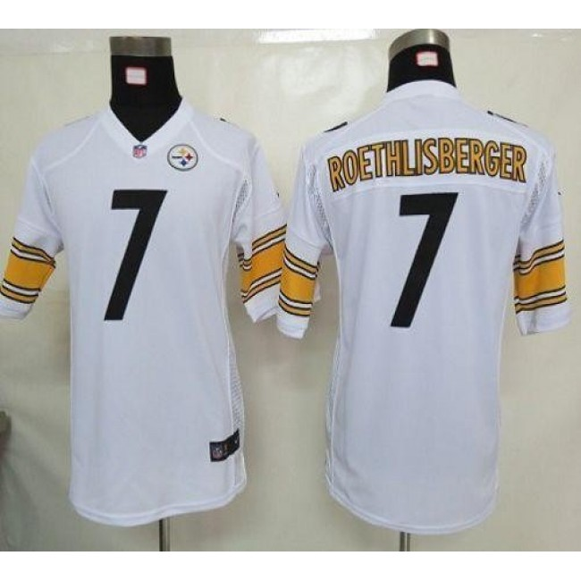 Pittsburgh Steelers #7 Ben Roethlisberger White Youth Stitched NFL Elite Jersey