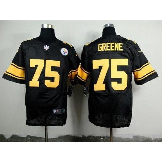 Nike Steelers #75 Joe Greene Black(Gold No.) Men's Stitched NFL Elite Jersey