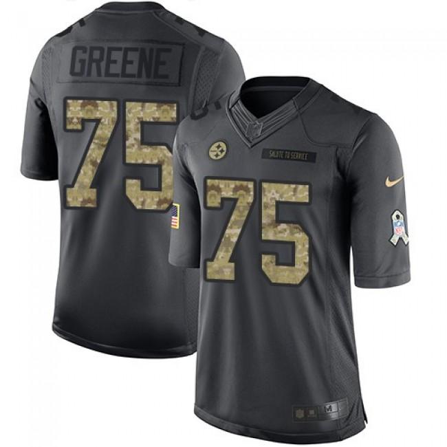 Nike Steelers #75 Joe Greene Black Men's Stitched NFL Limited 2016 Salute to Service Jersey
