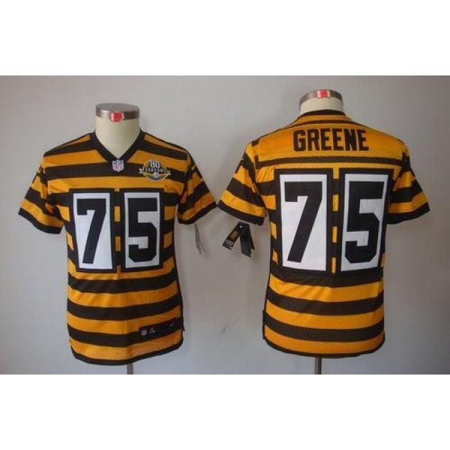 Pittsburgh Steelers #75 Joe Greene Black-Yellow Alternate Youth Stitched NFL Limited Jersey
