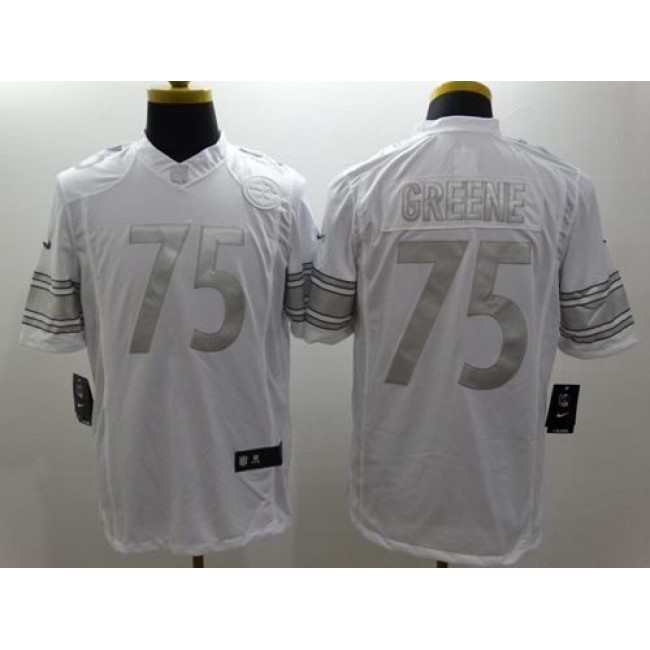 Nike Steelers #75 Joe Greene White Men's Stitched NFL Limited Platinum Jersey