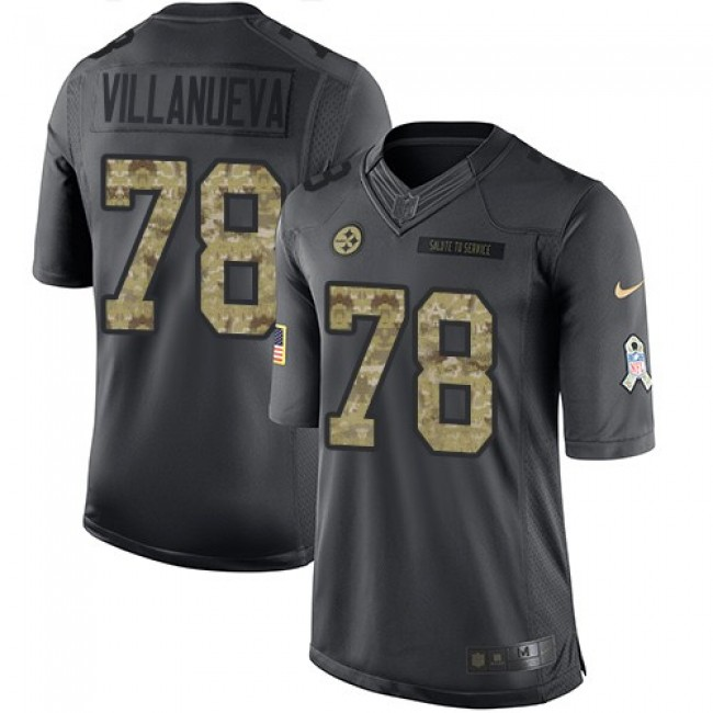 Nike Steelers #78 Alejandro Villanueva Black Men's Stitched NFL Limited 2016 Salute to Service Jersey
